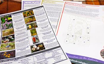 庭のレイアウトの例と植物の解説が載っているリーフレット